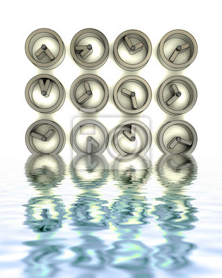 stalowe zegarki metalowe w odbicia wody