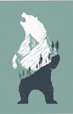 Naklejka Stały Niedźwiedź Ilustracji