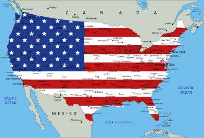 Naklejka Stany Zjednoczone bardzo szczegółowe mapy polityczne z flag narodowych.