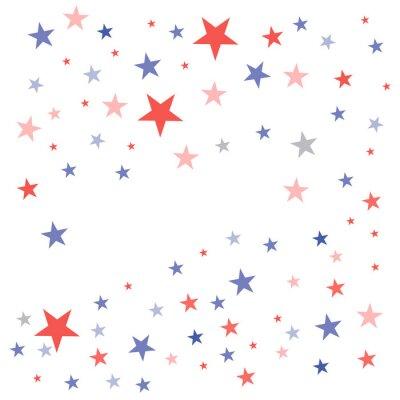Naklejka Stany Zjednoczone Patriotyczne tło w kolorach flagi z wyblakłe nudne gwiazdy rozproszone na białym tle