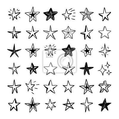 Naklejka Star doodles collection. Set of hand drawn stars. Vector art illustration.