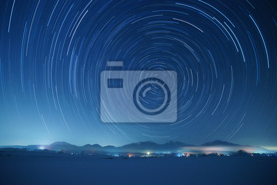 Naklejka Star trails over Mt. Hiruzen and Mt. Daisen in winter