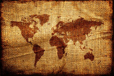 Naklejka Stara mapa świata na hesian worek tekstury