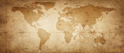 Naklejka Stara mapa świata na starym tle pergaminu. Zabytkowy styl. Elementy tego obrazu dostarczone przez NASA.