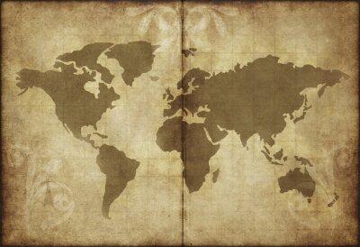 Naklejka Stara mapa świata pergamin