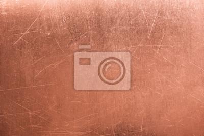 Naklejka Stara metalowa płyta, szczotkowana miedź tekstury, tło brązowe