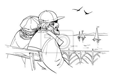 Stara para siedzi na molo, oglądając jachtów żaglowych. Dziadkowie odpoczynku na ławce po spacerze. ilustracja Ink.