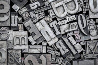 Naklejka stare bloki drukarskie typu metalowego typograficznego