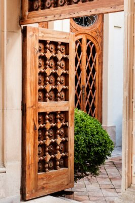 Naklejka Stare drewniane drzwi