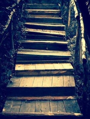 Naklejka Stare drewniane schody