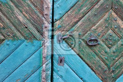 Stare drzwi malowane obierania farby turkus