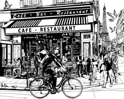 Naklejka Stare kawiarnia w Paryżu