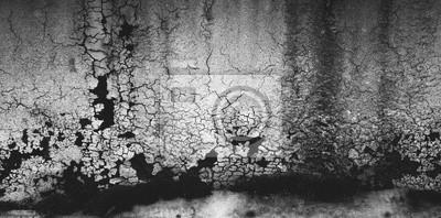 Stare malowanie Grunge czarno-białe uszkodzone ściany z pęknięciami. Dirty Rough Tekstury Tła