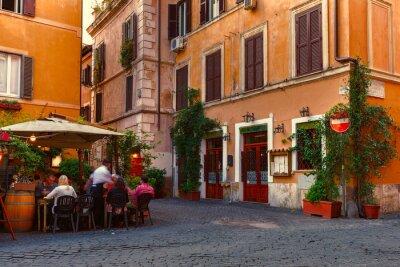 Naklejka Stare ulicy w dzielnicy Trastevere w Rzymie, Włochy