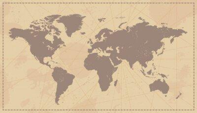 Naklejka Stare Vintage mapa świata