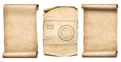 Naklejka Starego papieru zwoje lub pergaminy realistc zestaw ilustracji 3d