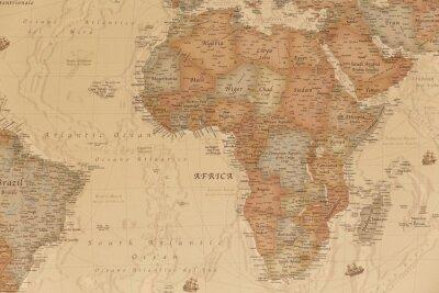 Naklejka Starożytna mapa geograficzna Afryki z nazwami krajów