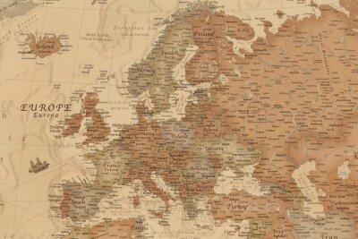 Naklejka Starożytna mapa geograficzna Europy z nazwami krajów
