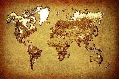 Naklejka starożytna mapa świata na starym papierze