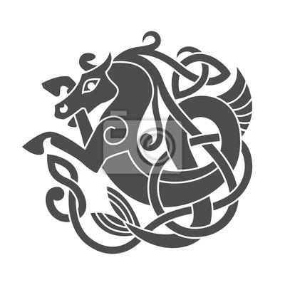 Naklejka Starożytny celtycki mitologiczny symbol koni morskich.