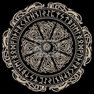 Naklejka Starożytny ornament skandynawski, tarcza wikingów i skandynawskich run
