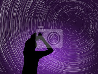 Naklejka Startrails wokół Polaris gwiazdy. ilustracji wektorowych.