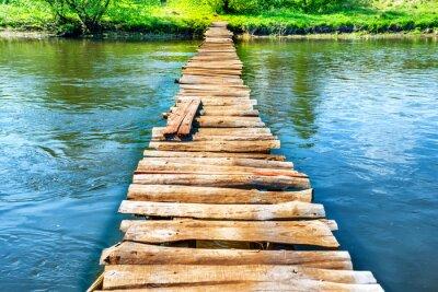 Naklejka Stary drewniany most przez rzekę