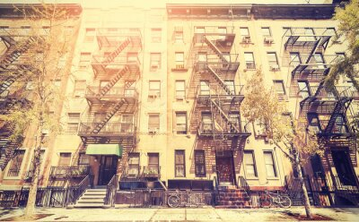 Naklejka Stary film stylu retro zdjęcie ulicy w Nowym Jorku, USA.