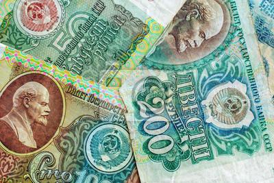 Stary pieniądze poprzedni sowieci - zrzeszeniowy, rocznika tło, tekstura