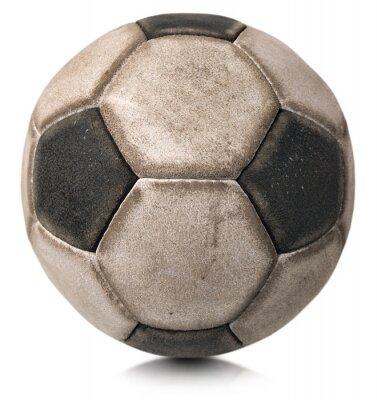 Naklejka Stary piłka nożna na białym / Fragment starych czarno-białe piłki nożnej na białym tle