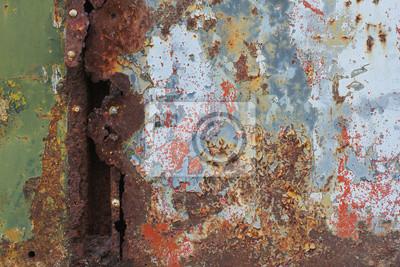 Stary zardzewiały powierzchni metalu z nitami