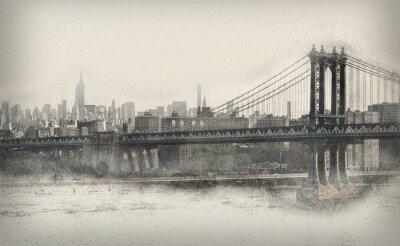 Naklejka Starzenie monochromatyczne panorama Nowego Jorku