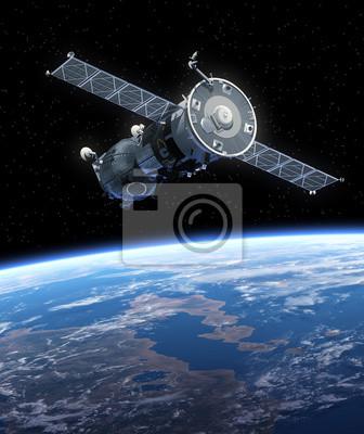 """Statek kosmiczny """"Sojuz"""" orbicie Ziemi."""