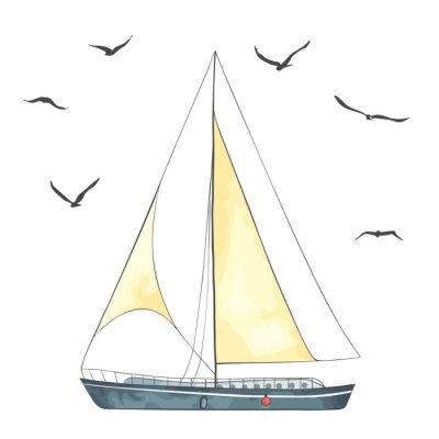 Naklejka Statek z żaglami i mewy wykonane w wektorze