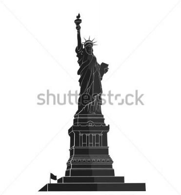 Naklejka Statua Wolności. Nowy Jork. Amerykański symbol. płaska sylwetka