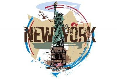 Naklejka Statua Wolności, Nowy Jork / USA. Projekt miasta. Ręcznie rysowane ilustracji.