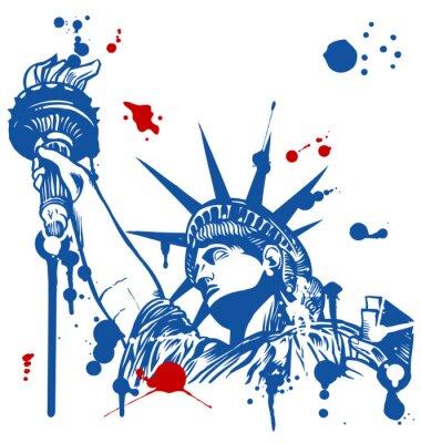 Naklejka Statua Wolności z latarką z atramentu kapanie