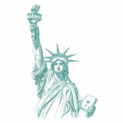 Naklejka Statue of Liberty engraving style illustration. Engraved style drawing. Vector.