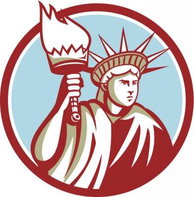 Naklejka Statue of Liberty Gospodarstwa Flaming Torch Koła Retro