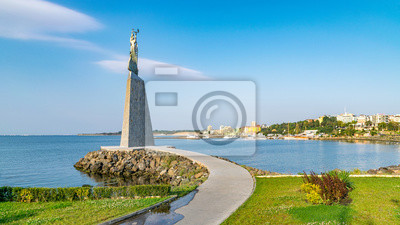 Naklejka Statue of St. Nicholas in Nessebar ancient city, one of the major seaside resorts on the Bulgarian Black Sea Coast. Nesebar or Nesebr is a UNESCO World Heritage Site. Sunny day with blue sky