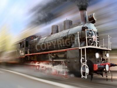 Naklejka steam engine, locomotive in motion blur