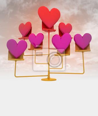 Stoisko z różowego złota czerwone serca z nieba