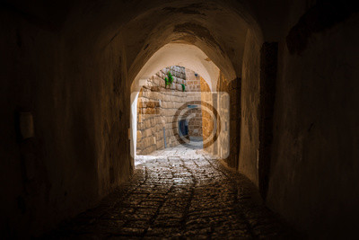 Naklejka stone street in the old city of Israel