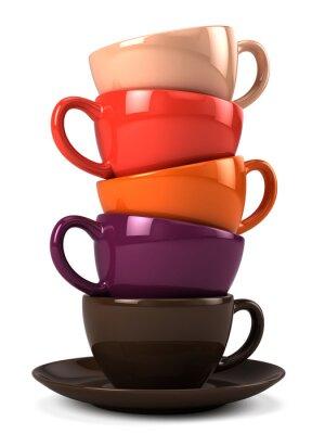 Naklejka Stos filiżanki kawy wyizolowanych na białym tle