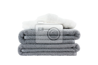 Stos ręczniki. Pojedynczo na białym