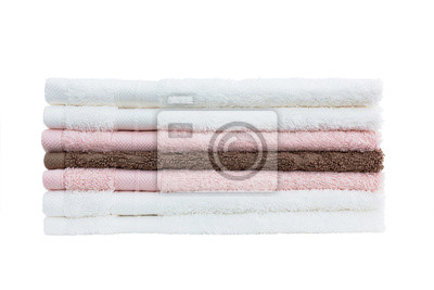 Stos ręczniki. Pojedynczo na białym tle