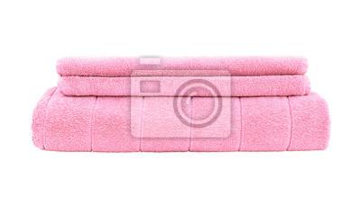 Stos różowe ręczniki samodzielnie na białym tle
