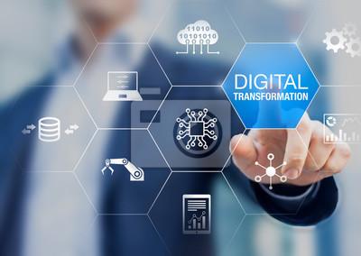 Naklejka Strategia technologii transformacji cyfrowej, digitalizacja i digitalizacja procesów biznesowych i danych, optymalizacja i automatyzacja operacji, zarządzanie obsługą klienta, internet i przetwarzanie
