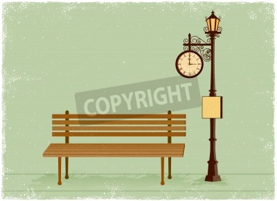 Naklejka Street clock and lamp post with park bench in vintage vector style
