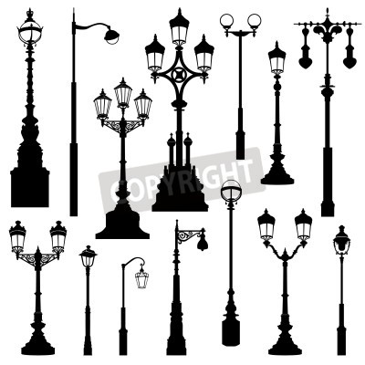 Naklejka Street lamp set. Street lights retro collection.